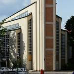 Gustav-Adolf-Kirche in Berlin-Charlottenburg von Otto Bartning, erbaut 1932 - 1934, Detailansicht des Kirchenschiffs