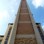 Gustav-Adolf-Kirche in Berlin-Charlottenburg von Otto Bartning, erbaut 1932 - 1934, Detailansicht des Kirchturms