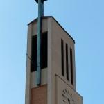 Gustav-Adolf-Kirche in Berlin-Charlottenburg von Otto Bartning, erbaut 1932 - 1934, Detailansicht der Turmspitze
