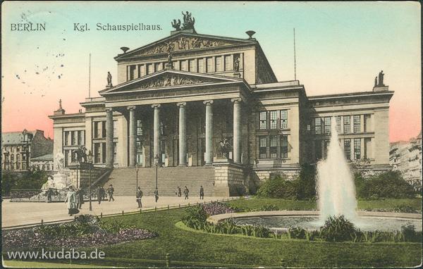 Historische Ansicht von Karl Friedrich Schinkels Schauspielhaus am Gendarmenmarkt in Berlin
