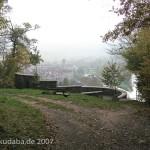 Blick über die Weserliedanlage herunter auf die Stadt Hann.-Münden