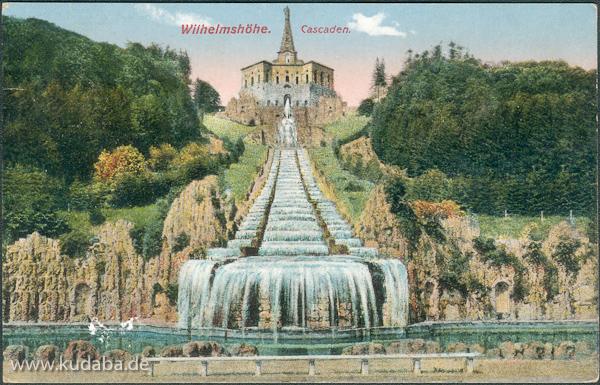 Historische Ansicht der Kasseler Kaskaden im Schlosspark Wilhelmshöhe