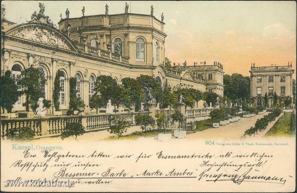 Historische Ansicht von der Orangerie in der Karlsaue in Kassel