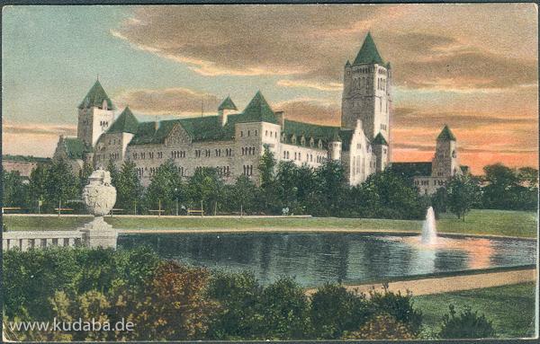 Historische Ansichtskarte von dem ehemaligen Residenzschloss von Franz Heinrich Schwechten in Poznan/Posen
