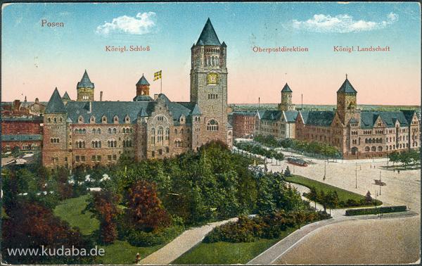 Historische Ansichtskarte mit dem ehemaligen Residenzschloss von Franz Heinrich Schwechten in Poznan/Posen