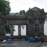Das Reiterstandbild des Kaiser Wilhelm I. auf dem Deutschen Eck in Koblenz, Detailansicht