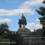 Das Reiterstandbild des Kaiser Wilhelm I. auf dem Deutschen Eck in Koblenz, Ansicht der Rückseite