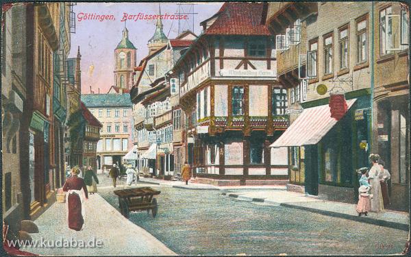 Vorderseite der Postkarte mit Ansicht der Barfüßerstraße in Göttingen