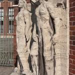Ullsteinhaus in Berlin-Tempelhof nach Plänen von Eugen Schmohl, 1927 im expressionistischen Stil fertiggestellt, Ansicht von skulpturalen Schmuck auf Bodenniveau
