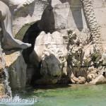 Vierströmebrunnen auf der Piazza Navona in Rom, Ansicht des Sockels mit Löwe