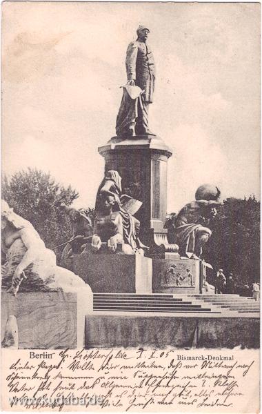 Historische Postkartenansicht vom Bismarck-Denkmal auf dem Standort vor dem Reichstagsgebäude in Berlin